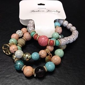 *Sale * Beaded stretch bracelet trio